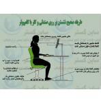 پوستر ایمنی طریقه صحیح نشستن بر روی صندلی و کار با کامپیوتر